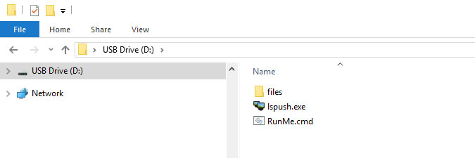 setting up USB drive to perform LsPush scans from