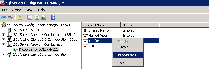 checking TCP/IP properties in SQL Server Configuration Manager