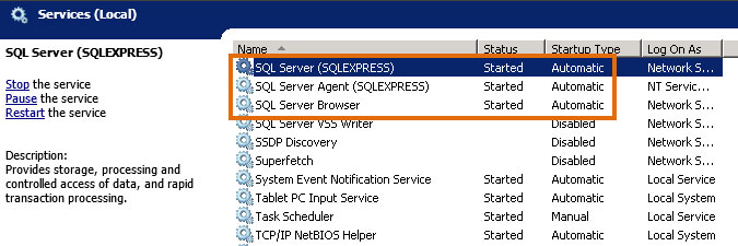 checking SQL service status in Windows Services