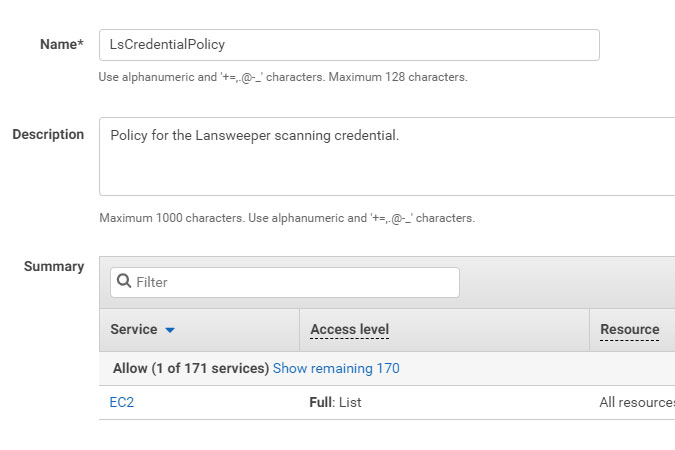 AWS policy name and description